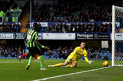 Adebayo Azeez of AFC Wimbledon sees his shot saved by Brian Murphy of Portsmouth - Mandatory byline: Robbie Stephenson/JMP - 07966 386802 - 15/11/2015 - Rugby - Fratton Park - Portsmouth, England - Portsmouth v AFC Wimbledon - Sky Bet League Two