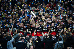 The Saracens team celebrate lifting the European Rugby Champions Cup trophy - Mandatory byline: Patrick Khachfe/JMP - 07966 386802 - 14/05/2016 - RUGBY UNION - Grand Stade de Lyon - Lyon, France - Saracens v Racing 92 - European Rugby Champions Cup Final. European Rugby Champions Cup trophy as his team celebrate victory - Mandatory byline: Patrick Khachfe/JMP - 07966 386802 - 14/05/2016 - RUGBY UNION - Grand Stade de Lyon - Lyon, France - Saracens v Racing 92 - European Rugby Champions Cup Final.