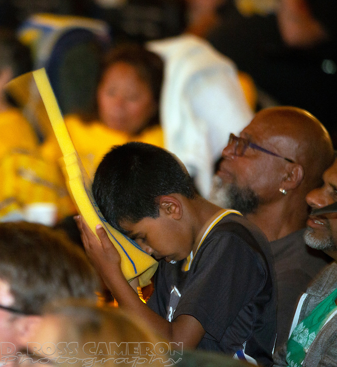 Golden State Warriors fans watch their team take on the Toronto Raptors in Game 3 of the 2019 NBA Finals, at a watch party held in the main auditorium of the Alameda Theatre and Cineplex, Wednesday, June 5, 2019, in Alameda, Calif. (Photo by D. Ross Cameron)