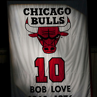 17 December 2009:  Close view of Bob Love #10 retired jersey during the Chicago Bulls 98-89 victory over the New York Knicks at the United Center, in Chicago, Illinois, USA.