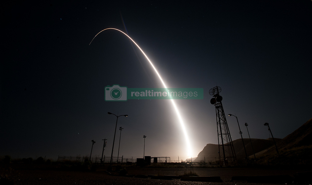 April 26, 2017 - Vandenberg Air Force Base, California, United States of America - An Air Force Global Strike Command Minuteman III intercontinental ballistic missile with a simulated warhead is launched during an operational test at Vandenberg Air Force Base, Vandenberg, California. The test comes during increased tensions with North Korea. (Credit Image: © Ian Dudley/Planet Pix via ZUMA Wire)