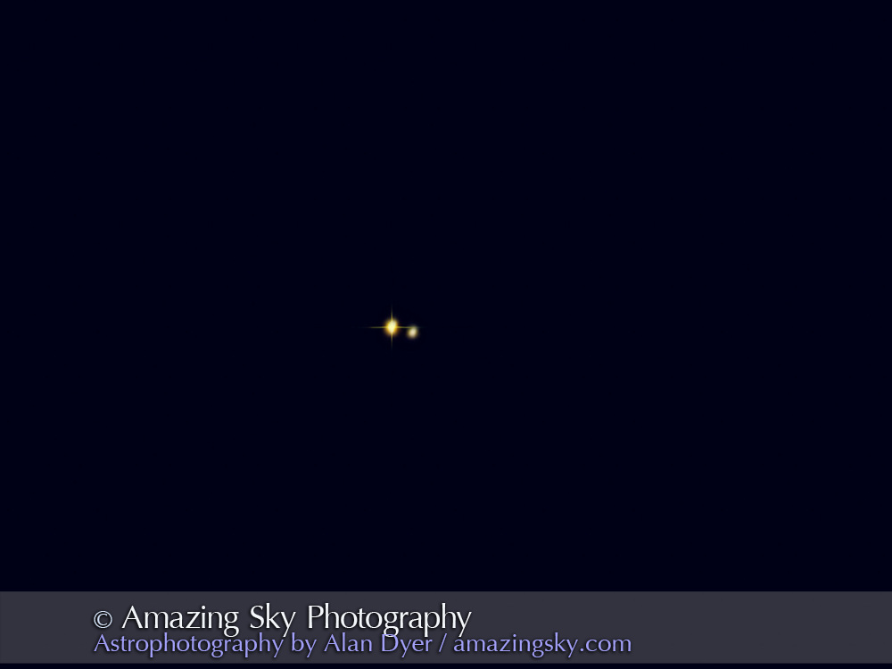 The double star Gamma Delphini, at the nose of the Dolphin, in a stack of frames from a webcam (Philips TouCam) from August 2005 with the C8.