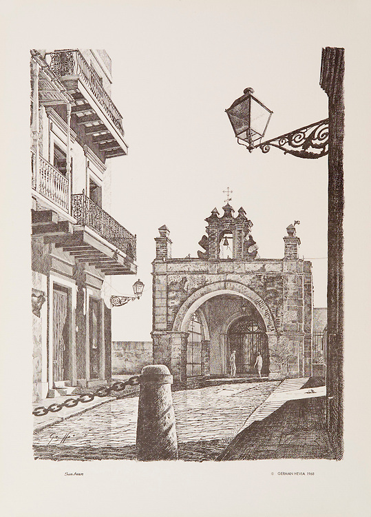 """Cat. # 17 - Lithographic print of Pen and Ink drawing of Capilla del Cristo, 1638, originally dedicated to St. Catherine, where according to legend, a miracle happened, is located at the bottom of Calle del Santo Cristo in Old San Juan, Puerto Rico. This print is part of a series printed on antique colored paper.<br /> Paper size is 11 x 15"""". Image size is approximately 9 x 12"""" <br /> Cat. #17 - Impresión litográfica de un dibujo a plumilla de la Capilla de Cristo, 1638, originalmente dedicada a Santa Catalina y en donde cuenta la leyenda ocurrio un milagro, esta situada al final de la Calle del Santo Cristo en el Viejo San Juan, Puerto Rico. Esta impresión es parte de una serie impresa en papel estilo antiguo.<br /> Tamaño del papel es 11 x 15"""". Tamaño de la imagen es aproximadamente 9 x 12"""""""
