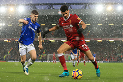 10th December 2017 - Premier League - Liverpool v Everton - Jonjoe Kenny of Everton battles with Dominic Solanke of Liverpool in the snow - Photo: Simon Stacpoole / Offside.