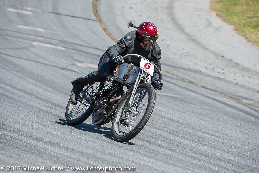 Xavier Muriel on a 1914 OHV 64 ci Perry Mack racer in Billy Lane's Son's of Speed race during Daytona Bike Week. New Smyrna Beach, FL. USA. Saturday March 18, 2017. Photography ©2017 Michael Lichter