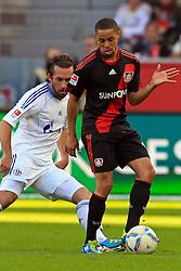 23.10.2011,  BayArena, Leverkusen, GER, 1.FBL, Bayer 04 Leverkusen vs Schalke 04, im Bild.Christian Fuchs (Schalke #23) gegen Sidney Sam (Leverkusen #18)..// during the 1.FBL, Bayer Leverkusen vs Schalke 04 on 2011/10/23, BayArena, Leverkusen, Germany. EXPA Pictures © 2011, PhotoCredit: EXPA/ nph/  Mueller       ****** out of GER / CRO  / BEL ******
