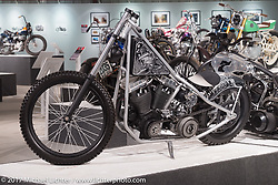 Brad Gregory's deraked Harley-Davidson Evo chopper in the Old Iron - Young Blood exhibition in the Motorcycles as Art gallery at the Buffalo Chip during the annual Sturgis Black Hills Motorcycle Rally. Sturgis, SD, USA. Wednesday August 9, 2017. Photography ©2017 Michael Lichter.