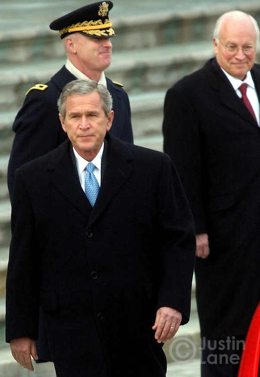 United States President George W. Bush, Gen. Galen Jackman, background, and Vice President Dick Cheney are seen at the US Capitol following the Presidential Inauguration in Washington DC Thursday 20 January 2005. This was the 55th Presidential Inaugurational and will mark the start of Bush's second term in office.