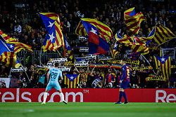 November 5, 2019, Barcelona, BARCELONA, Spain: Pro catalan independence fans claiming Spain, sit and talk to Spanish goverment during the UEFA Champions League match between FC Barcelona and Slavia Praga in Camp Nou Stadium in Barcelona 05 of November of 2019, Spain. (Credit Image: © AFP7 via ZUMA Wire)