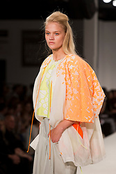 © Licensed to London News Pictures. 31/05/2014. London, England. Collection by Keishin Barrett from UEL, University of East London. Graduate Fashion Week 2014, Runway Show at the Old Truman Brewery in London, United Kingdom. Photo credit: Bettina Strenske/LNP