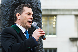 PLACE, January 14 2018. A few dozen protesters from 'The People's Charter' group demonstrate outside Downing Street demanding that the Brexit referendum result is respected following calls for a second referendum. PICTURED: UKIP MEP Steven Woolfe addresses the gathering. © Paul Davey