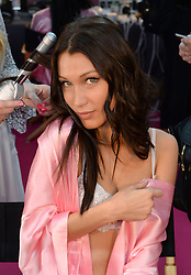 Bella Hadid backstage during the Victoria's Secret Fashion Show 2016 held at The Grand Palais, Paris, France