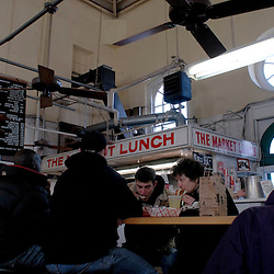 WASHINGTON, DC - Diners enjoy a countertop lunch at the Market Lunch inside the historic Eastern Market in Washington's Capitol Hill neighborhood...Photo by Susana Raab