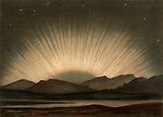 Aurora Borealis or Northern Lights observed from German and southern Scandinavia.   Caused by high-speed particles ejected from the Sun, they are most commonly observed during periods of maximum sunspots. From 'Die Naturkrafte' by M  Wilhelm Meyer (Leipzig, 1903). Chromolithograph.