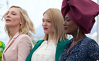 Jury members Cate Blanchett, Léa Seydoux, Khadja Nin at the Jury photo call at the 71st Cannes Film Festival Tuesday 8th May 2018, Cannes, France. Photo credit: Doreen Kennedy