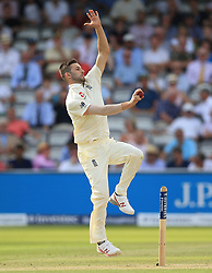 England's Mark Wood during day two of the First Investec Test match at Lord's, London. PRESS ASSOCIATION Photo. Picture date: Friday July 7, 2017. See PA story CRICKET England. Photo credit should read: Nigel French/PA Wire. RESTRICTIONS: Editorial use only. No commercial use without prior written consent of the ECB. Still image use only. No moving images to emulate broadcast. No removing or obscuring of sponsor logos.