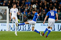 Michael Carrick of England is challenged by Franco Vazquez of Italy - Photo mandatory by-line: Rogan Thomson/JMP - 07966 386802 - 31/03/2015 - SPORT - FOOTBALL - Turin, Italy - Juventus Stadium - Italy v England - FIFA International Friendly Match.