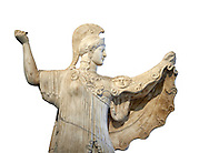 Roman statue of goddes Athena from the tablinum of the Villa of the Papyri in Herculaneum, Museum of Archaeology, Italy, white background ..<br /> <br /> If you prefer to buy from our ALAMY STOCK LIBRARY page at https://www.alamy.com/portfolio/paul-williams-funkystock/greco-roman-sculptures.html . Type -    Naples    - into LOWER SEARCH WITHIN GALLERY box - Refine search by adding a subject, place, background colour, etc.<br /> <br /> Visit our ROMAN WORLD PHOTO COLLECTIONS for more photos to download or buy as wall art prints https://funkystock.photoshelter.com/gallery-collection/The-Romans-Art-Artefacts-Antiquities-Historic-Sites-Pictures-Images/C0000r2uLJJo9_s0