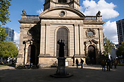 As numbers of Covid-19 cases in Birmingham have dramatically risen in the past weeks, increased lockdown measures have been announced for Birmingham and other areas of the West Midlands, far fewer people are in the city centre outside the main shopping district as seen here in St Philip's Cathedral in Cathedral Square on 29th September 2020 in Birmingham, United Kingdom. With the rule of six also being implemented the Birmingham area has now be escalated to an area of national intervention, with a ban on people socialising with people outside their own household, unless they are from the same support bubble.