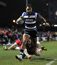 Olly Woodburn (Bath) runs in his first try for Bath - Photo mandatory by-line: Patrick Khachfe/JMP - Tel: Mobile: 07966 386802 14/12/2013 - SPORT - RUGBY UNION -  The Recreation Ground, Bath - Bath v Mogliano - Amlin Challenge Cup.
