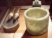 Chinese jade brush pot decorated with landscape. Date unknown