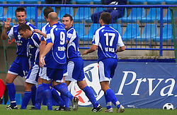 Players of Nafta celebrate at 12th Round of PrvaLiga Telekom Slovenije between NK Primorje vs NK Nafta Lendava, on October 5, 2008, in Town stadium in Ajdovscina. Nafta won the match 2:1. (Photo by Vid Ponikvar / Sportal Images)