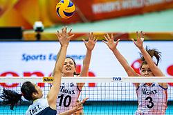 16-10-2018 JPN: World Championship Volleyball Women day 17, Nagoya<br /> Netherlands - China / Lonneke Sloetjes #10 of Netherlands Yvon Belien #3 of Netherlands Ting Zhu #2 of China