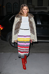 Olivia Palermo is seen wearing a striped colorful dress with a red boots as arriving at the Carolina Herrera Fashion Show Fall 2018 in New York City. 12 Feb 2018 Pictured: Olivia Palermo. Photo credit: ZapatA/MEGA TheMegaAgency.com +1 888 505 6342