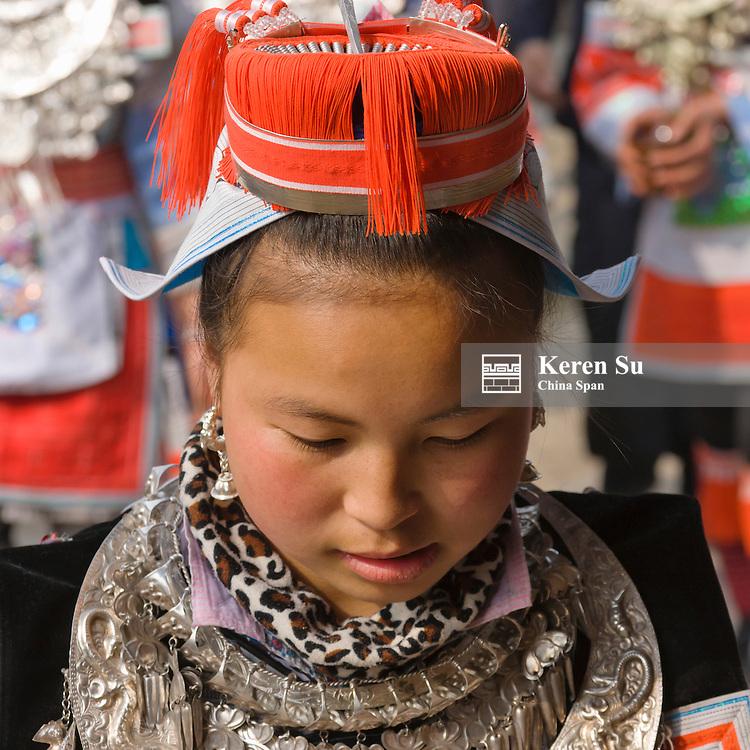 Gejia Miao girl in traditional costume, Kaili, Guizhou Province, China