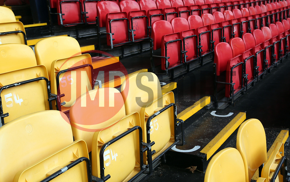 A general view of the different coloured seats at Roots Hall, home of Southend United - Mandatory by-line: Joe Dent/JMP - 20/08/2019 - FOOTBALL - Roots Hall - Southend-on-Sea, England - Southend United v Peterborough United - Sky Bet League One