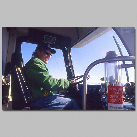Alaska. Barrow. City busdriver Kelly Aikens.