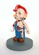 ARTIST CUTS POPULAR TOYS IN HALF TO REVEAL WHAT THEIR INSIDES LOOK LIKE<br /> <br /> Artist Jason freeny reveals the meat and bones of our favorite childhood cartoon characters.<br /> Using real toys, Freeny cuts them in half and carefully studies their anatomy. After figuring out the unique body structure of each character, he then creates their bones and organs by carving epoxy clay with dentistry and pumpkin carving tools. Each sculpture takes around a month to six weeks.<br /> <br /> His collection includes characters like Mickey Mouse, Hello Kitty, Bugs Bunny, and Sully, to name a few. The models not only provide a unique look at these pop culture icons, but they also show how cartoon anatomies differ greatly from us, e.g Popeye's massive forearms and Mario's baby-shaped skull.<br /> ©Exclusivepix Media