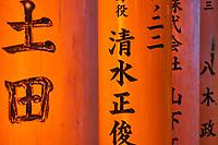 Japon, île de Honshu, région de Kansaï, Kyoto, Arashiyama, temple de Fushimi Inari-taisha, sanctuaire Shinto, allée bordée de Torii // Japan, Honshu island, Kansai region, Kyoto, Arashiyama, Fushimi Inari-taisha Temple, Shinto sanctuary, torii lined alleys