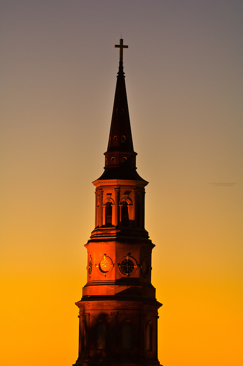 Twilight view of the steeple of St. Philip's Episcopal Church, in the historic district of Charleston, South Carolina