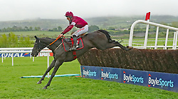Delta Work ridden by Davy Russell wins The Dooley Insurance Group Champion Novice Steeplechase during day one of the Punchestown Festival at Punchestown Racecourse, County Kildare, Ireland.