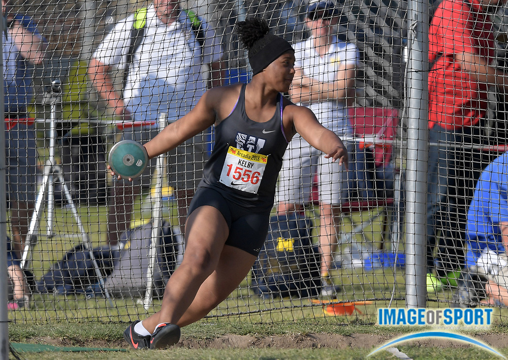 Apr 7, 2018; Arcadia, CA, USA; Makayla Kelby (1556) of Lees Summit West (MO) wins the invitational girls discus with a throw of 168-6 during the 51st Arcadia Invitational at Arcadia High.