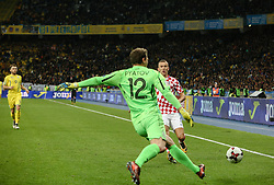 October 9, 2017 - Kiev, Ukraine - Goalkeeper Andriy Pyatov of Ukraine in action during the FIFA 2018 World Cup Group I Qualifier between Ukraine and Croatia at Kiev Olympic Stadium on October 9, 2017 in Kiev, Ukraine. Ukraine fail to reach the play-offs as they lose 2-0. (Credit Image: © Sergii Kharchenko/NurPhoto via ZUMA Press)