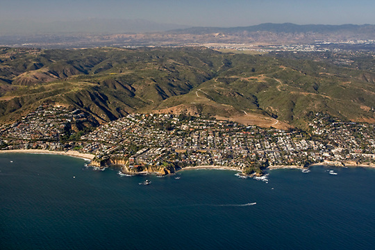Aerial view of Crescent Bay and Shaws Cove, north of Dana Point, looking north/northeast.