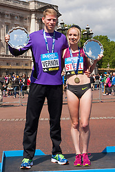 London, May 25th 2014. Bupa London 10,000 winners Andy Vernon and Gemma Steel.