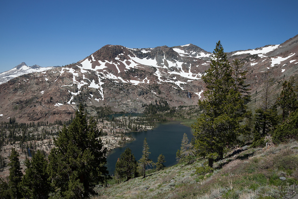 """""""Half Moon Lake 2"""" - Photograph of Half Moon Lake in the Tahoe Desolation Wilderness. Alta Morris Lake can also be seen in the distance."""
