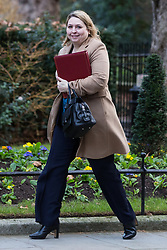 London, UK. 8th January, 2019. Karen Bradley MP, Secretary of State for Northern Ireland, arrives at 10 Downing Street for the first Cabinet meeting since the Christmas recess.