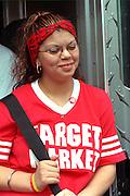 Parade participant age 17 at Cinco de Mayo festival.  St Paul Minnesota USA