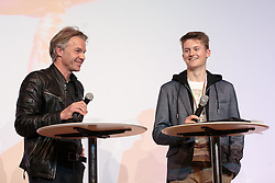 02.10.2015, Nussdorf Gebannt, AUT, Empfang für UCI Juniorenweltmeister Felix Gall, im Bild Moderator Thomas Pupp, UCI Juniorenweltmeister Felix Gall // during the official reception for the UCI Junior World Champion Felix Gall in his home town. Nussdorf Decant, Austria on 2015/10/02. EXPA Pictures © 2015, PhotoCredit: EXPA/ Johann Groder