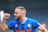 GOAL Aaron Wilbraham celebrates scoring his second 3-1  during the EFL Sky Bet League 1 match between Rochdale and Scunthorpe United at Spotland, Rochdale, England on 23 March 2019.