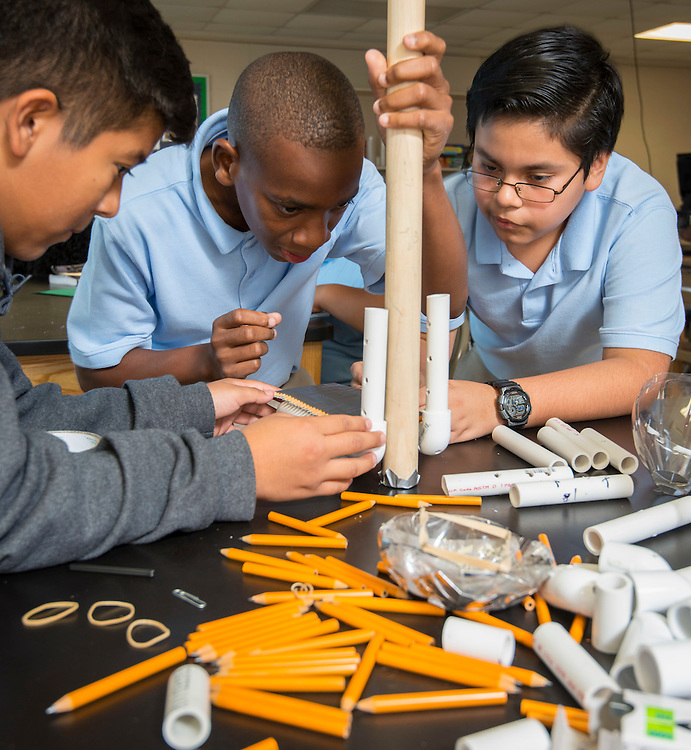Students design a prosthetic leg at Williams Middle School, September 18, 2014.