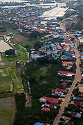 Aerial view of the village of Phnom Krom, south of Siem Reap, Cambodia.