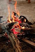 A camp fire at Abu Camp, a luxury safari in the Okavango Delta, Botswana