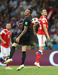 SOCHI, July 7, 2018  Denis Cheryshev (R) of Russia vies with Mario Mandzukic of Croatia during the 2018 FIFA World Cup quarter-final match between Russia and Croatia in Sochi, Russia, July 7, 2018. (Credit Image: © Wu Zhuang/Xinhua via ZUMA Wire)