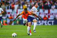 Netherlands defender Denzel Dumfries (22) and England defender Ben Chilwell (Leicester City) tussle of the ball during the UEFA Nations League semi-final match between Netherlands and England at Estadio D. Afonso Henriques, Guimaraes, Portugal on 6 June 2019.