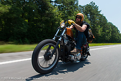 Curtis Maynard on the ride from Suck, Bang, Blow in Murrells Inlet, SC to Rockingham, NC for the Smokeout 2015. USA. June 18, 2015.  Photography ©2015 Michael Lichter.